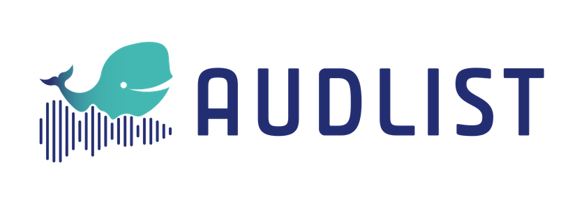 Audlist logo - a beluga whale swimming on sound waves